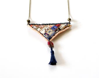 Fabric Pendant Necklace with Tassel - Hand Sewn and Beaded Fiber Art Necklace - Limited Edition Painted City Collection