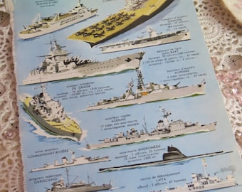 Reference-Audubon-Book Plates-French-Battle Ships-Navy-Sea
