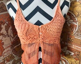Vintage 1990s Crochet Knitted Sheer Orange Ombre' Netted Boho Crop Top Sz S