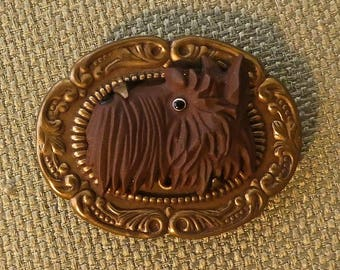 Jan Michaels of San Francisco gold tone pin with Scottie Dog Head