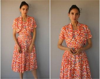 Vintage 1950s Sun Dress • 50s Dress • 1950s Day Dress • 1950s Floral Dress • 1950s Cotton Dress • 1950s Dress Set -(small)