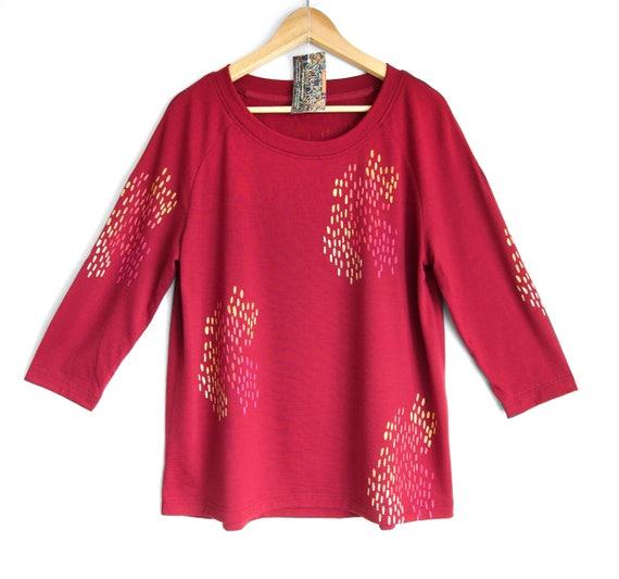 NOVEMBER RAIN. Merino raglan sweatshirt. 3/4 sleeve merino sweater. Long sleeve merino top. Marsala Red Merino top. Wine Red Womens Top.