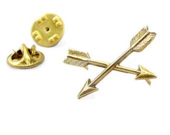 Crossed Arrows Pin | Brass Tie Tack Pin | Arrow Lapel Pin | Small Arrow Pin