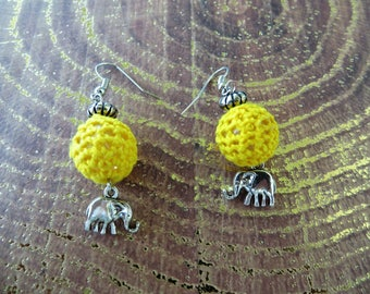 Yellow Crocheted Beads And Silver Elephant Charm Drop Earrings