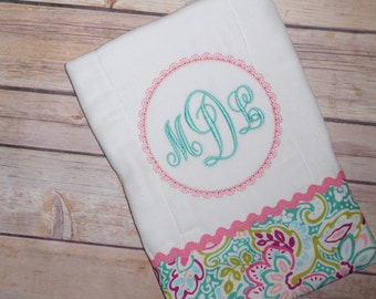Baby girl's monogrammed burp cloth;embroidered burp cloth