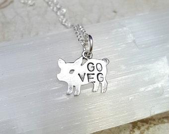 Vegan necklace. Sterling silver pig necklace. Go Veg necklace. Vegetarian pendant. Little piglet necklace. Vegan jewelry.