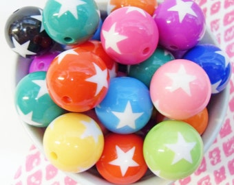 5x 20mm Colorful Star Resin Globe beads