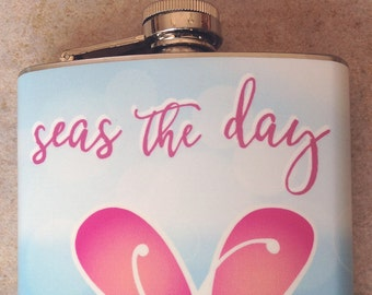 Stainless Flask - Seas the Day - 8 oz.