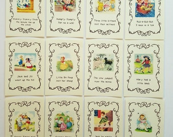 Nursery Rhyme, 4x6 inch, Prints for Framing, 12 Card, Vintage, Mother Goose, Storybook Theme, Baby Shower, Birthday, Table, Wall, Decoration