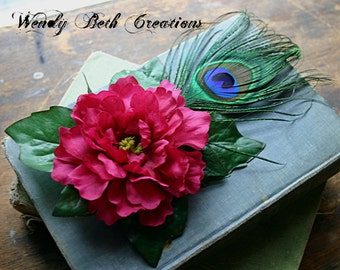 Simple Raspberry Marigold Hair Clip Fascinator - Wedding, Pin Up, Fairy, ATS, Tribal Belly Dance, Pink, Peacock Feather