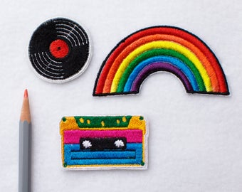 Vintage patch Retro patch Rainbow patch Iron on patch Patches for jackets Cassette patch Retro cassette patch Cute patches LGBT patch ED9231