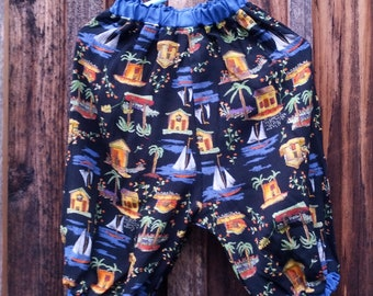 Upcycled boy or girl baby pants palm trees and sailboats size 12 mos kid-tested washable