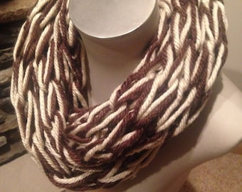 Arm Knit Infinity Scarf- Brown Tweed/ Cream