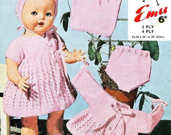 Emu Vintage Doll Clothes to fit 16 inch to 20 inch baby dolls instant download knitting pattern