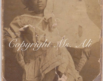Shabby Memories - African American Siblings Antique Photograph - Cabinet photo