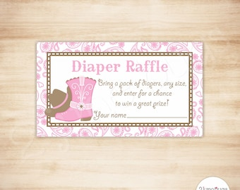 Cowgirl Baby Shower Diaper Raffle Tickets - Western Baby Girl Shower Game - Pink Brown Paisley - PRINTABLE - INSTANT DOWNLOAD