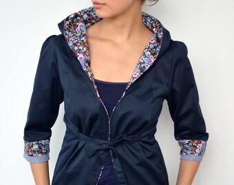 blue blazer - flowers - belt