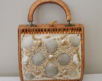 Vintage Wicker and Seashell Purse - Made in Spain