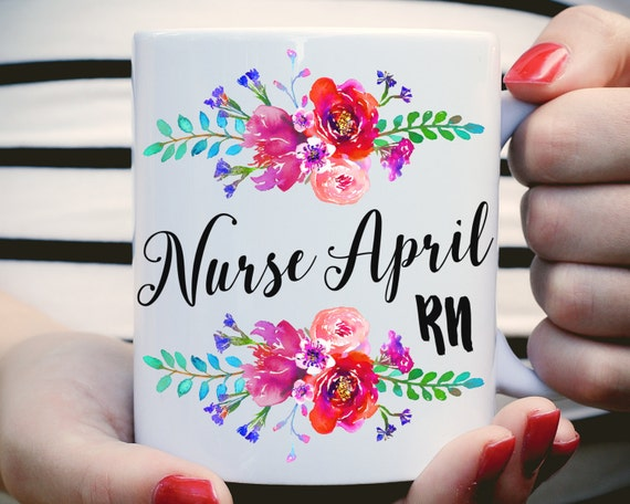 Nurse RN Mug, Custom RN Mug, Gifts For Nurse, Nurse Grad, Nurse Coffee Mug, Nurse, Nurse Graduation Gift, Floral Watercolor, Name Nurse Mug