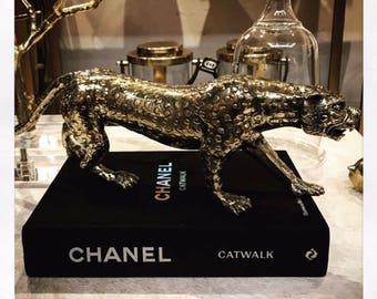 Brass Lepoard Sculpture