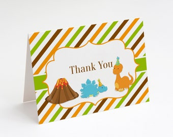Dinosaur Thank You Card, Dinosaur Birthday Party, Boys Birthday Party, Birthday Thank You Card, Instant Download