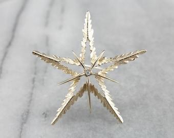 Vintage Diamond Star Gold Brooch A8JP8CJD-R
