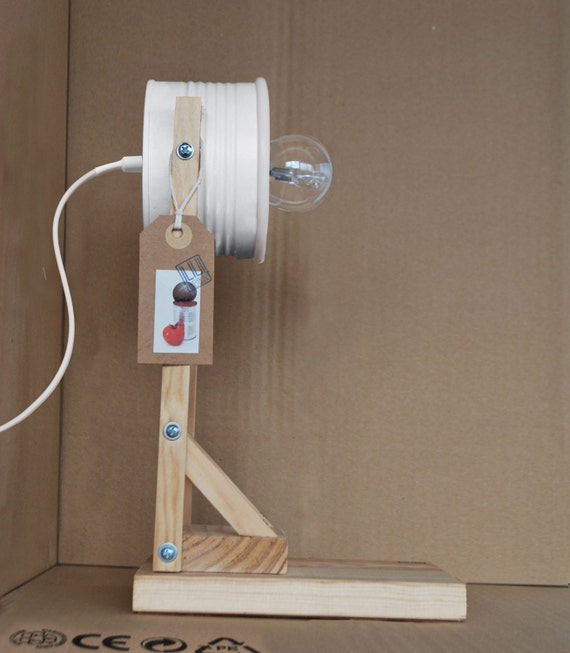 White desk lamp / bedside lamp / table lamp  - eco friendly: recycled from tomato can !!! UK or EURO or US plug