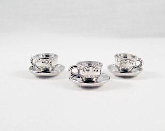 Set of 3 charms 3D BD55 - cup tea coffee heart break reading Vintage patterns