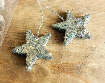 Silver Glitter Stars