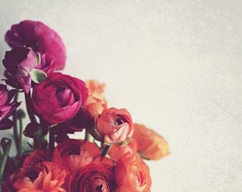 "Botanical Print, Ranunculus Flowers, Minimal Wall Art, Orange Pink Art, Flower Photography, Bedroom Art, Bouquet Art Print ""Lovely Day"""