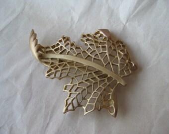 Leaf Gold Filigree Brooch Vintage Pin Don-Lin