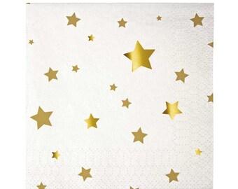 Gold Star Napkins (16), Meri Meri Toot Sweet Small Napkins, Gold Star Party Theme, Twinkle Twinkle Little Star Party Napkin, Cocktail Napkin