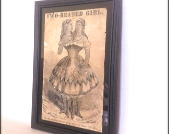 Two Headed Girl Framed Aged Reproduction of Victorian Sideshow Poster