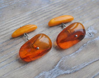 Vintage natural cognac-egg yolk Baltic Amber Cuff Links.