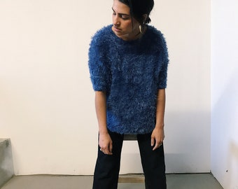 vintage 90s blue furry short sleeve sweater // small