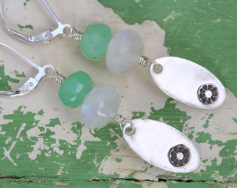 chrysoprase Moonstone and silver earrings