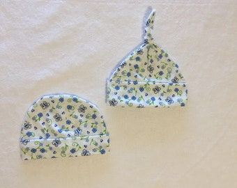 Beanie   Beanie with Flowers   Top Knot   Preemie Caps   Preemie Hats   Newborn Topknot    NICU Caps   Caps Girls   Hat Set   Baby Beanies