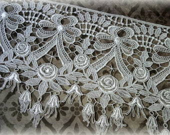 """Lace  Fabric Trim, Ivory Lace Fabric, Guipure Lace, Venice Lace, Bridal Lace, Costume Design, Lace Applique, Crafting, approx. 7"""" GL-010"""
