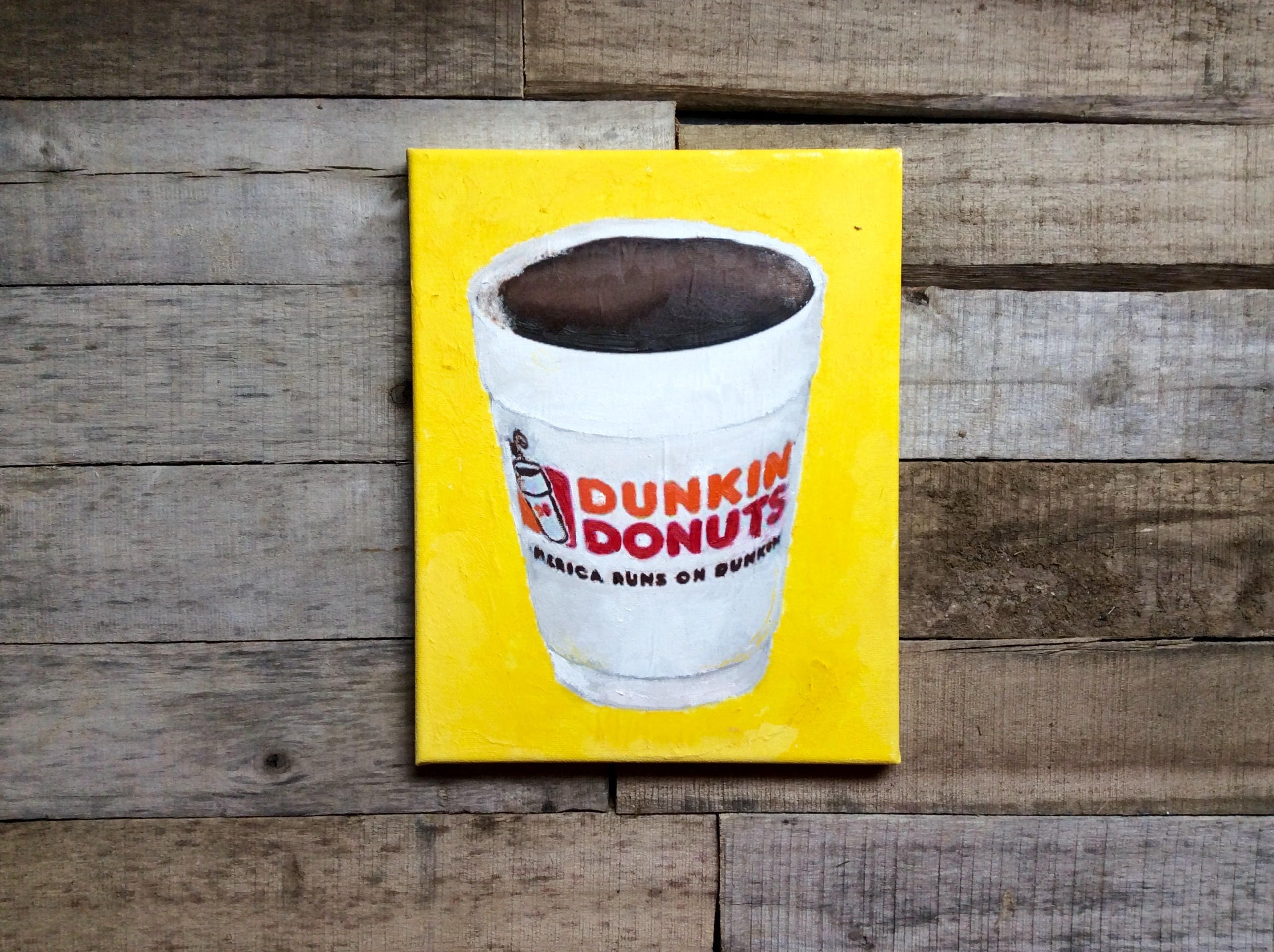Dunkin Donuts 8x10 Oil Paints and Ink Transfer Painting Gift