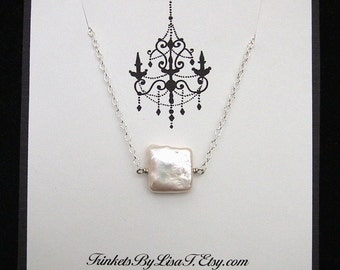 Square Freshwater Coin Pearl Necklace in Sterling Silver