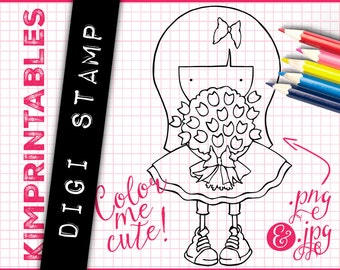 Flower Girl with Big Hair Simple Digi Stamp - Just Add Color - Digital Stamp for Instant Download - Downloadable Graphics by KimPrintables