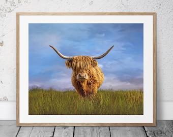 Highland Cow Print,Highland Cow,Highland Cow Art,Cow Gift,Highland Cattle,Cow,Highland Cow Canvas,Cow Gift-Sells UK/USA and Australia