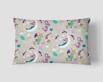 """Mermaid Lullaby // Decorative Pillow Cover 12""""x18"""" // Lumbar Pillow // Rectangular Throw Pillow"""