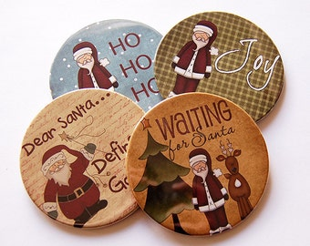 Christmas Coasters, Xmas Coasters, Drink Coasters, Coasters, Hostess Gift, Stocking Stuffer, Christmas, Holiday Coasters, Santa (5218)