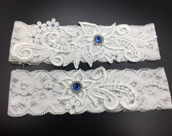 Lace Wedding Garter Set with Floral Lace and Diamantes Bridal garters  wedding toss