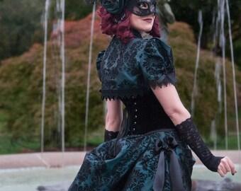 Masquerade Ball Gown   Dark Allure   Victorian Dress, Bustle Dress, Gothic Wedding Dress, Sexy Formal Dress, Dark Green Wedding Dress