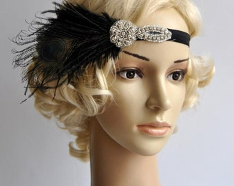 Flapper Feather Black Headband The Great Gatsby 1920s Flapper rhinestone Wedding Baby Flower Girl Headband dance Vintage headband headpiece