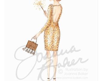 Party Sparkler Fashion Illustration Art Print / Fashion Illustration Sketch, Fashion Sketch Art, Fashion Art Print, Fashion Wall Art