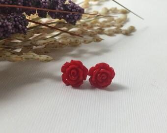 Tiny Red Rose Earrings ~ Hypoallergenic Earrings ~ Bridesmaids Earrings ~ Flower Girl Earrings