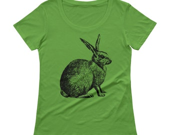 Rabbit Tshirt - Rabbit T Shirt - Womens T Shirt - Bunny T Shirt - Rabbit Printed T shirt - Graphic Tee - Ladies Tee